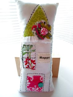 Pillow Flower Pillow House Shaped Pillow Decorative by Itsewbella Applique Pillows, Sewing Pillows, Handmade Pillows, Decorative Pillows, Diy Cushion Covers, Cute House, Flower Pillow, Fabric Houses, Toddler Gifts