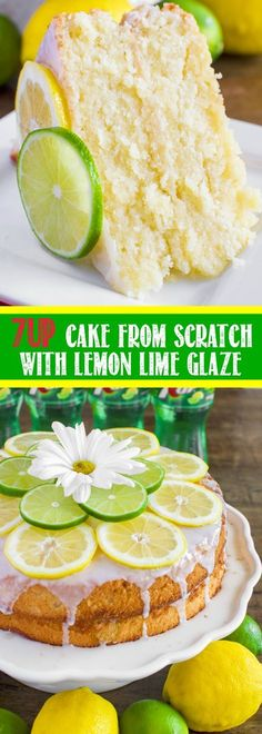 This 7 UP Cake from Scratch with Lemon Lime Glaze is moist and buttery and bursting with lemon lime flavor! The perfect dessert for summertime entertaining! @7UP #spon