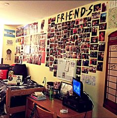 "This is an awesome ""Friends"" themed picture collage. #diy #dormroomideas"