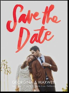 Warmly Written - Signature White Photo Save the Date Cards in Tomato or Fuchsia | Papier Fabrik