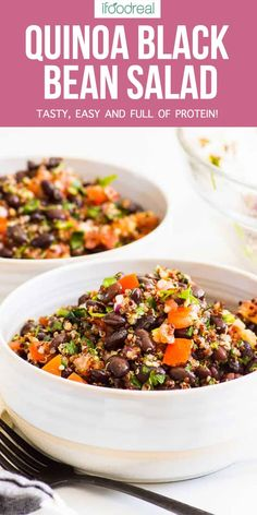 Superfood Quinoa Black Bean Salad that is full of protein, tasty and easy. Meal prep it on Sunday, make ahead for a party or simply clean out the fridge.