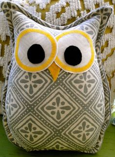 Owl Pillow....love grey and yellow together =)