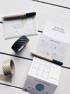 business cards, handmade, sudoku, to-do list, masking-tape