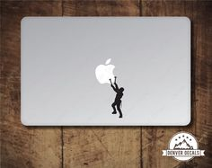 Ice Climber Scaling the Apple Macbook Sticker Climbing Mac Decal Macbook Pro Stickers, Mac Stickers, Mac Decals, Macbook Decal, Ice Climber, Apple Sport, Climbers, Lettering, Etsy