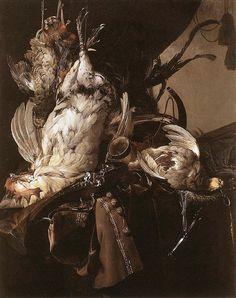 Willem van Aelst (Dutch, 1627-1683): Stillleben mit erlegten Vögeln und Jagdgeräten, um 1660