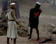King Arthur: [after Arthur's cut off both of the Black Knight's arms] Look, you stupid Bastard. You've got no arms left. Black Knight: Yes I have. King Arthur: *Look*! Black Knight: It's just a flesh wound. (Monty Python and the Holy Grail) Monty Python, Military Quotes, Military Humor, Favorite Movie Quotes, Favorite Things, Normal Person, Captain Marvel, In This World, Movies And Tv Shows