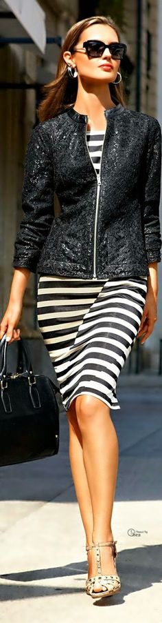 Stripes and Lace Jacket | Street Outfits