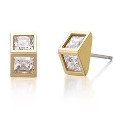 Product information :  Greek Mythology in 16 S/S The Helios Line which is inspired by the Greek God of the Sun, Helios A Modern Representation of Solar Light in a Stone Square Triangular Metal design.  Product: Earrings Material: SV 925( Yellow Gold with Rhodium plated) Weight: 1.37 grams (+- 0.5) Approx. Stone: Cubic Zirconia (White) [3.5 mm. Approx.] Size: Length 4.5 X 8.3 cms.