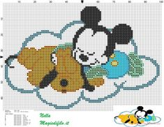 baby Pluto and Mickey Mouse on a cloud