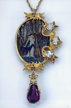 Art Nouveau Carved Cameo Diamond  & Amethyst Necklace by Rene Lalique.