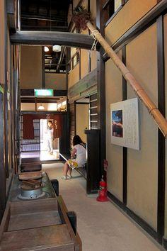 Interior view of the kitchen area of the Nara-machi Lattice House.  Nara, Japan.
