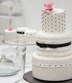 Black Swiss Dotted Tiered White Cake