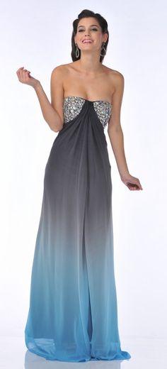 Long Chiffon Black Blue Ombre Dress Prom Rhinestone Strapless Bodice $267.99