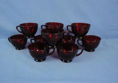 Vintage RUBY RED Fire King Anchor Hocking Glass 12 pc Punch Bowl Cup Set