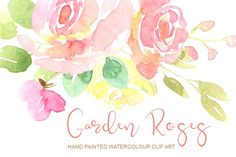 Gentle watercolor roses flowers Graphics **Watercolor gentle pink flowers for your projects** Hand painted watercolor flowers (pink, yellow by GraphicsDish