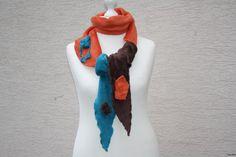Armstulpen - Schal Stulpen Stirnband Fleece türkis braun orange - ein…