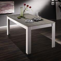 table manger laqu blanc et bois gris moderne elios 2