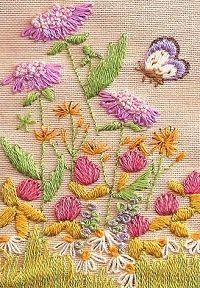Butterfly garden embroidery