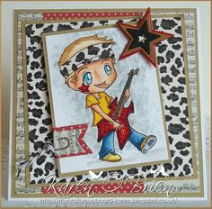 """Karen of http://mycraftycupboard-karen.blogspot.co.uk/ made this STUNNING card using """"Jordan Rock Star"""" from www.kithandkinstampco.com .  It's very hard for me as I love seeing all my stamps in use by people but I do think this is my favourite Jordan Rock Star. I love the colouring and I love the card and papers.  Why not show us what you're doing with him? Pin your creations to our board... you never know if I like your work you might get offerred a guest design team spot."""