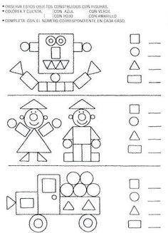 Formen 2D, Mathe, Geometrie, Anzahl der verwendeten Formen erfassen und aufschreiben, zählen, Klasse 1, Vorschule