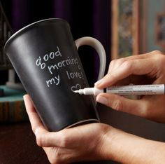 Chalkboard Mug --- I love this and might make lots of things with chalkboard paint!