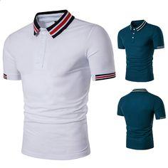 39f3f71e91ee6 2018 New casual polo estate uomo marchio di moda sottile cotone traspirante  a strisce a colori manica corta polo uomo camicia taglia EU