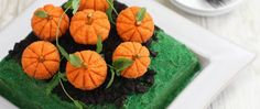 The perfect theme dessert for an autumn affair, our Pumpkin Patch Cake is made with Betty Crocker SuperMoist devil's food cake mix.