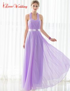 iLoveWedding New Arrival Cheap Bridesmaid Dresses Long Chiffon Pleat A-line Sleeveless Halter Simple Formal Party Gowns 12508