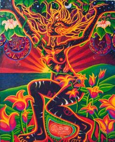 psychedelic art breathing energy, fully awake and conscious.