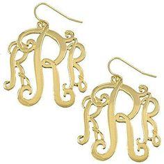 *[E/R]-Monogram Earring ~R~ Goldtone