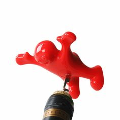 New Arrival Funny Red Villain Silicone Wine Bottle Opener Silicone Handle Wine Bottle Corkscrews