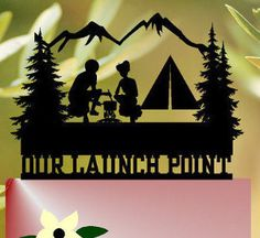 Camp wedding cake topper Camping Couple Cake Topper Campers