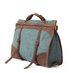 CANVAS BAG/ Cow Leather canvas bag / leather Briefcase / leather Messenger bag /leather Laptop bag / Ladies leather satchel