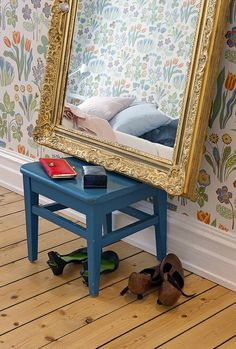 Lose the bench, but love the free-standing mirror or get a wider bench for better balance