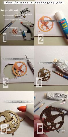 How to make a Mockingjay Pin Hunger Games Crafts, Hunger Games Costume, Game Costumes, Super Hero Costumes, Diy Costumes, Hunger Games Outfits, Costume Ideas, Book Day Costumes, Costumes For Teens