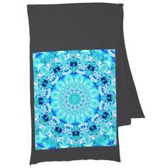 Aqua Lace Mandala, Delicate, Abstract Blue Scarf Wrap #mandala #scarf #dianeclancy