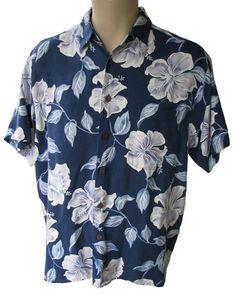 Mens Shirt Aloha Camp Hibiscus Blue Silk Size M Hawaiian Reserve Collection #Hawaiian #ButtonFront #Casual