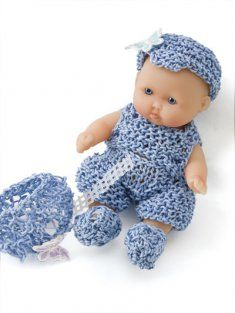 http://www.maggiescrochet.com/itty-bitty-baby-doll-clothes-p-2152.html#.UPcLmCdEF8E    Knit his and her outfits for the holidays, the beach, playtime and nighttime using size 3 knitting needles and size 5 cotton thread. Little girls will have hours of fun dressing up their precious miniature dolls in these 12 outfits. Doll lovers will want a set to keep as an heirloom and a second set to dress and display.    Skill Level: Easy
