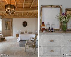 Lustre à pampilles 'Castorama', tapis en lanière de cuir 'Ikea', linge de lit et coussins 'La Redoute', sol en travertin 'Masterceram'