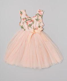 Peach Floral Tutu Dress - Infant, Toddler & Girls