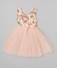 Peach Floral Tutu Dress