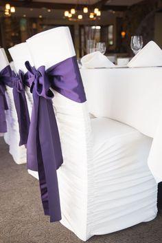 Purple wedding - Fun wedding up on the blog: http://blog.rsvp-events.ca/modern-and-rustic-wedding/  By RSVP Events: www.rsvp-events.ca #purplewedding #ChairCovers