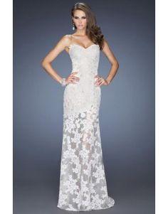 2014 Ivory Sweetheart Full Lace Prom Dress Column Floor Length Applique