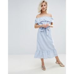 Rage Stripe Strapless Prairie Dress (44,880 KRW) ❤ liked on Polyvore featuring dresses, blue, blue dress, ruffle hem dress, off shoulder dress, layered dress and tall dresses