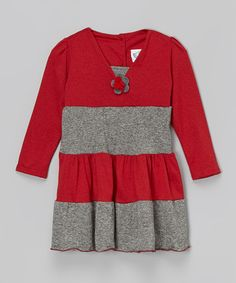 This Gray & Red Tiered Princess Dress - Infant, Toddler & Girls by Corky's Kids is perfect! #zulilyfinds