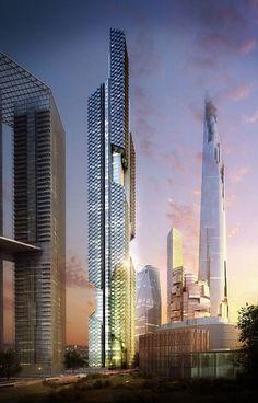 Dancing Dragons, future, architecture, Seoul, South Korea, fantastic, futuristic, structure, concept, innovation, unique, tower, skyscraper, solar panels, green energy, eco