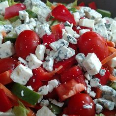 Nice cold salad for #lunch on this #muggy #summer day.  #lazylowcarb #lowcarb #keto #ketolunch #bleucheese #cheese #food #salad #healthyeating #healthfood #diet #loseweight #atkins #lowcarbdiet #instafood #veggies