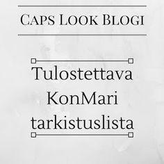 Caps Look: Tulostettava KonMari tarkistuslista