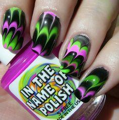 IG: @elh_nails Polishes used #inthenameofpolish Tiffany Locket, Punjab and Sinful Colors Black On Black  #glitter #sparkles #mani #manicure #nailart #indies #watermarble
