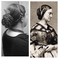 Godey's Ladies hair style (1860's). Modern version on the left & a Civil War Era lady on the right.